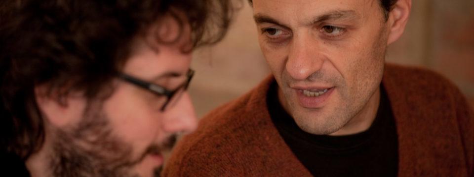 Giovanni Ceccarelli and Ferruccio Spinetti in studio recording tribute album to Ennio Morricone.